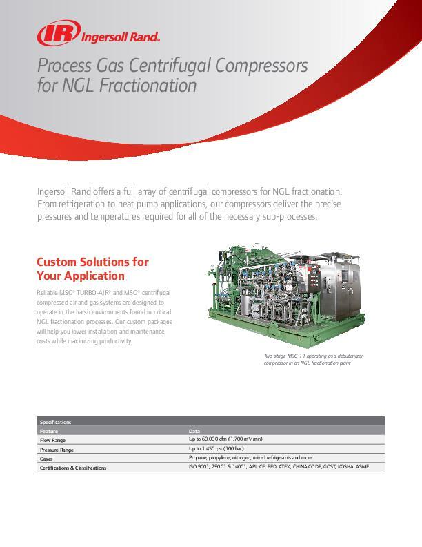 Process Gas Centrifugal Compresssors for NGL Fractionation Flyer