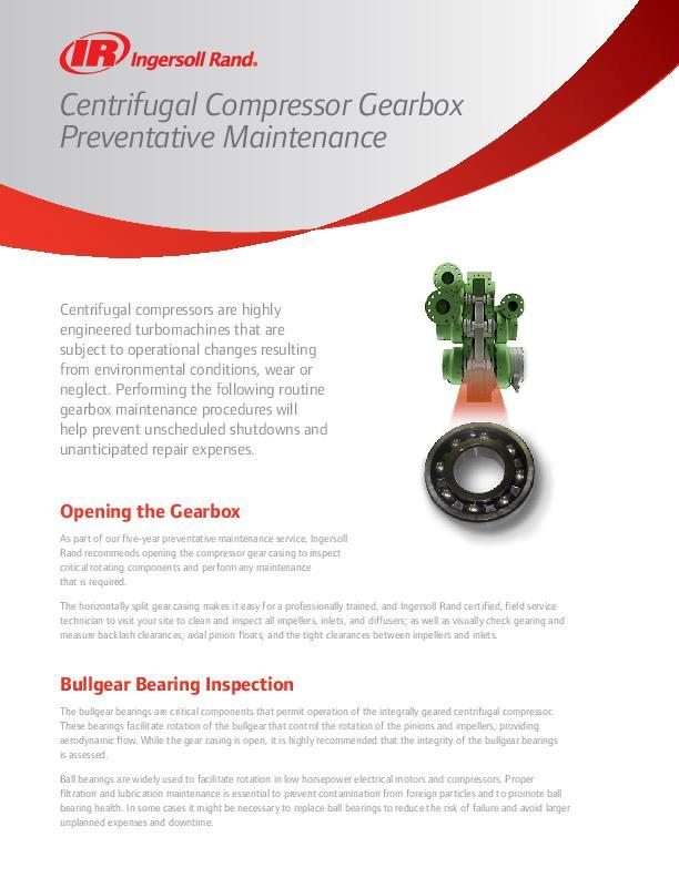 Centrifugal Compressor Gearbox Preventative Maintenance Flyer
