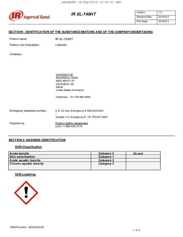 Safety Data Sheet XL 740HT Lubricant Philippines English