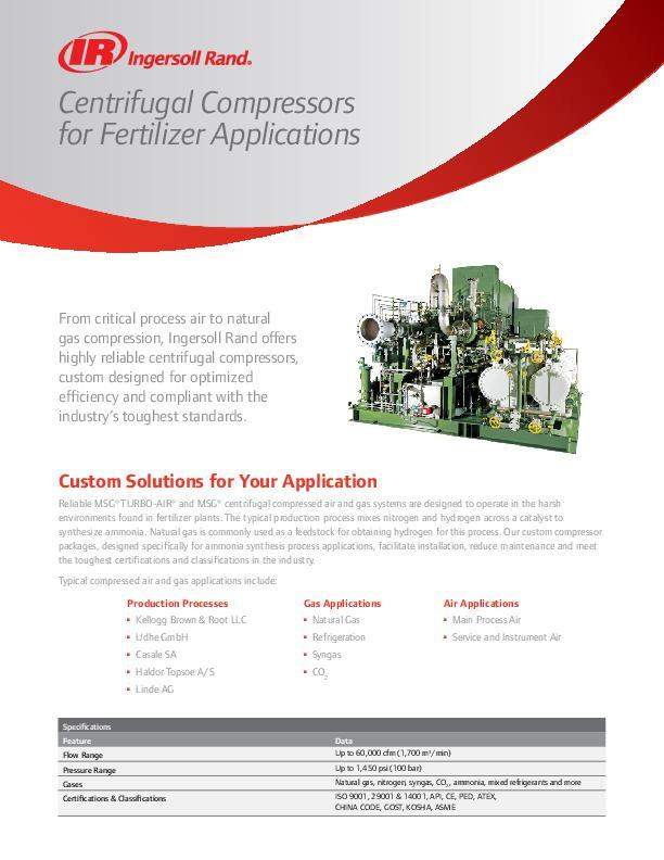 Centrifugal Compressors for Fertilizer Applications Flyer