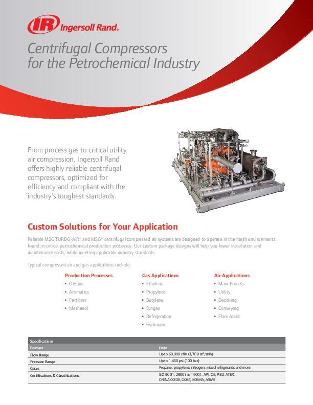 Centrifugal Compressors for Petrochemical Flyer