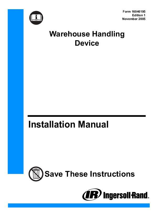 16046195ed1Warehouse Handling Device Instruction Manual