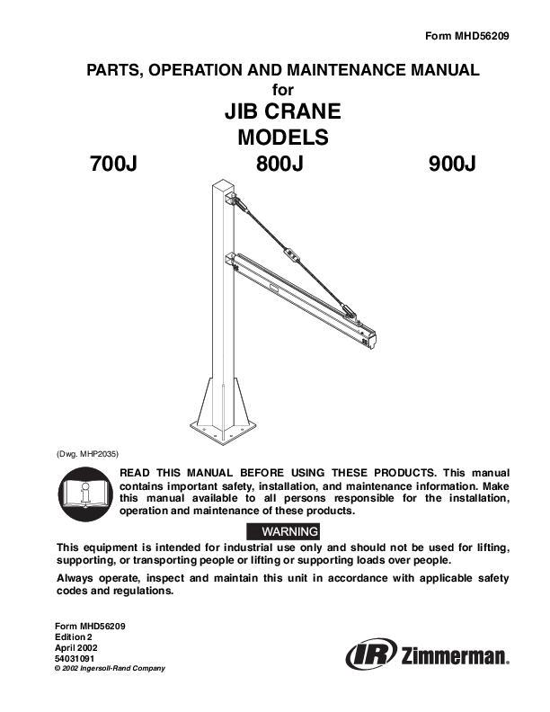MHD56209ed2Jib Crane Parts Operation  Maintenance Manual