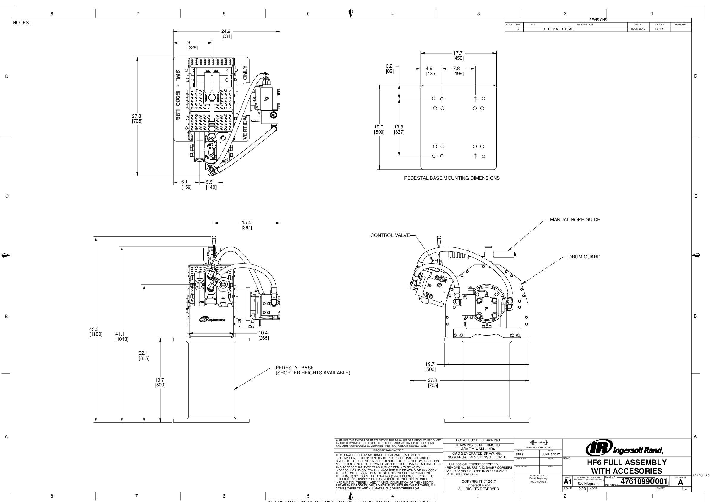 HF6 Winch Full Assembly With Accessories  drawing