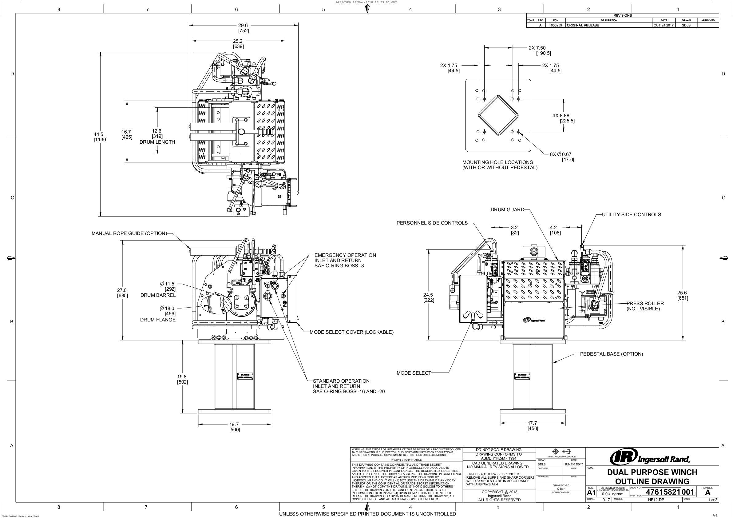 Hydraulic Force Series Dual Purpose Winch General Arrangement Drawing