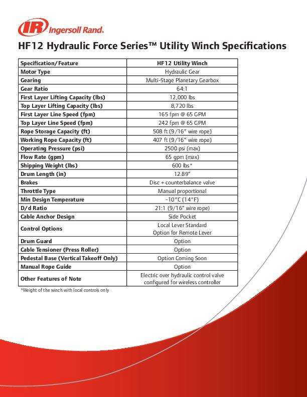 Hydraulic Force Series HF12 Utility Winch Specifications