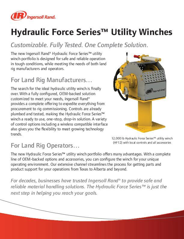 Hydraulic Force Series Utility Winch Flyer